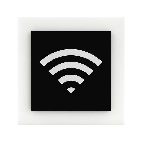 Acrylic Wi-Fi Sign for Waiting Room Information signs black/white symbol Bsign Information signs Bsign