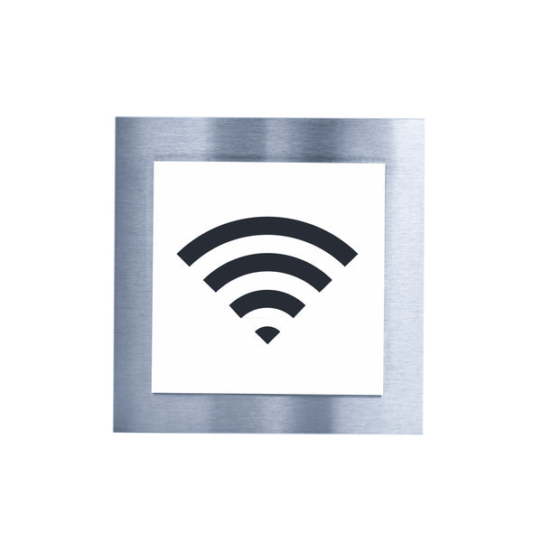 Wi-Fi Steel Wall Plate for Office Information signs white / black pictogram Bsign