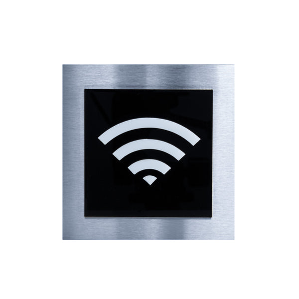 Wi-Fi Steel Wall Plate for Office Information signs black / white pictogram Bsign