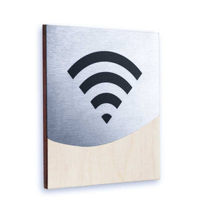 Steel Wi-Fi Signs Information signs Natural wood Bsign