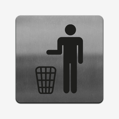 Trash Bin - Stainless Steel Sign