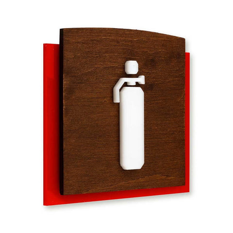 Wood Extinguisher Fire Safety Sign for Office