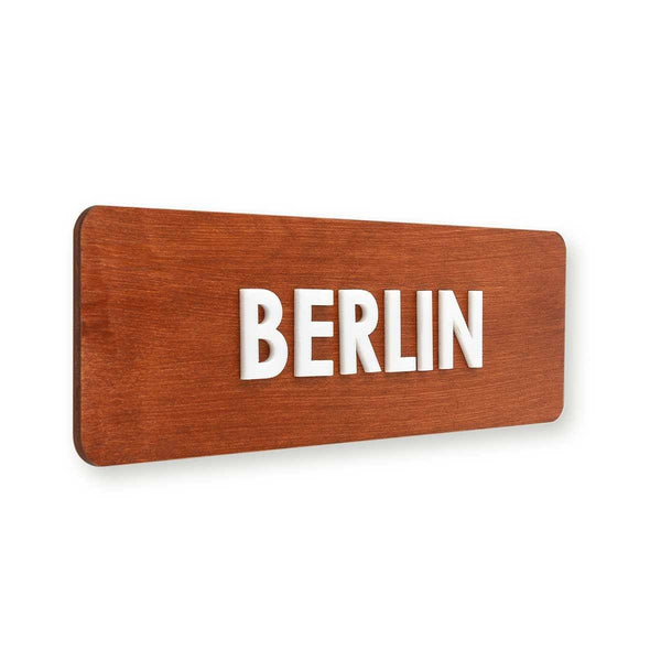 City Name Wooden World Clock Sign Redwood Bsign