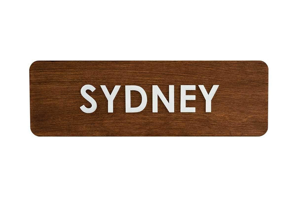 City Name Wooden World Clock Sign Indian Rosewood Bsign