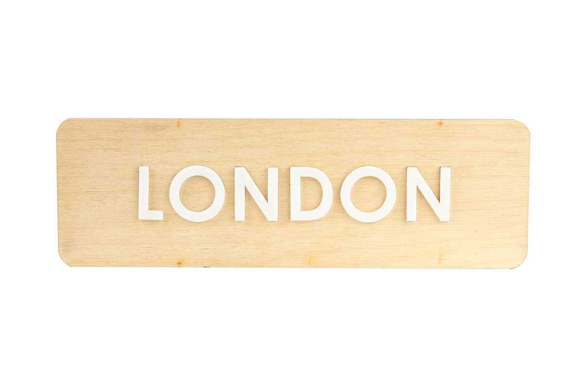 City Name Wooden World Clock Sign Natural Wood Bsign