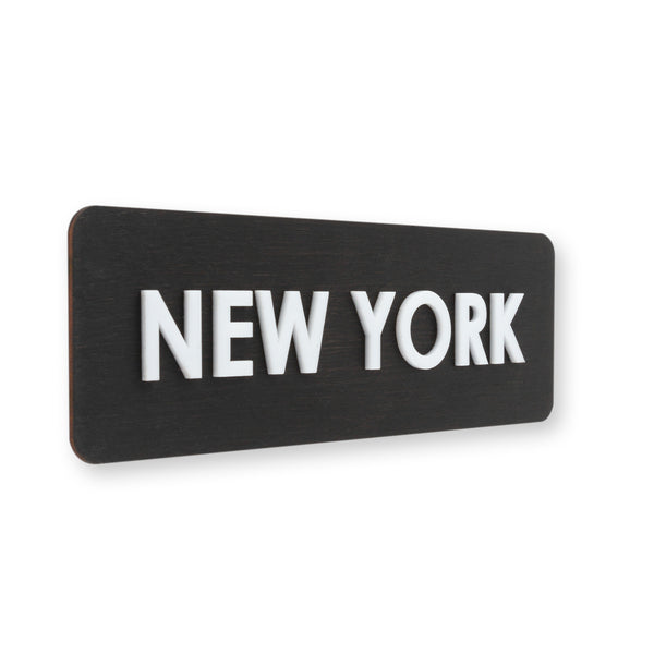City Name Wooden World Clock Sign Anthracite Gray Bsign