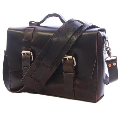 A buffalo leather satchel a part of The Buffalo Collection