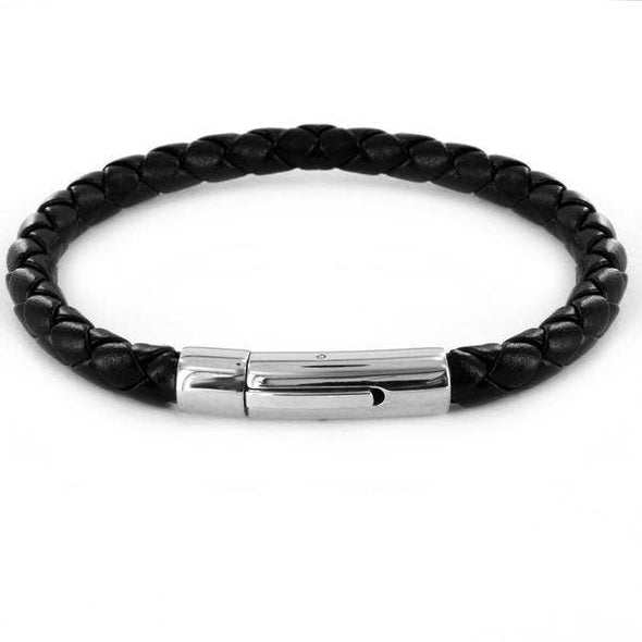 Crucible Stainless Steel Braided Leatherette Bracelet