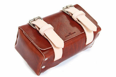 No. 215 - Small Travel Case in Two Tone Natural Tan & Havana Brown