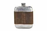 No. 618 - Vintage Pewter Hip Flask w/ Leather Wrap in Crazy Horse