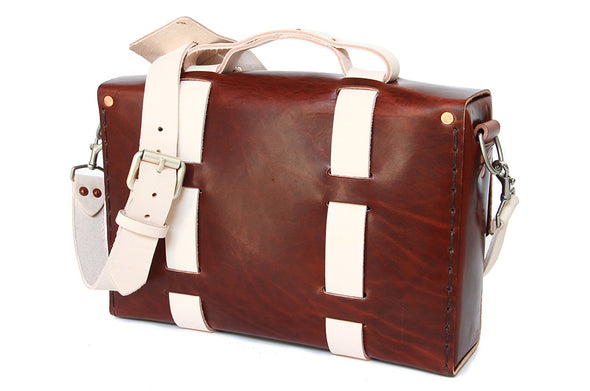 No. 4313 - Minimalist Standard Leather Satchel in Two Tone Natural Tan & Havana Brown
