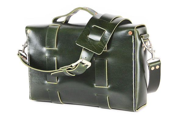 No. 4313 - Minimalist Standard Leather Satchel in Buffalo British Racing Green