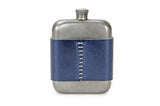 No. 618 - Vintage Pewter Hip Flask w/ Leather Wrap in Doctor Blue