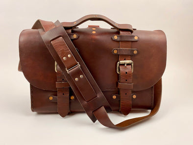 Seasoned No. 4311 - Standard Scotch Grunge Leather Satchel with Rear Insert & Backpack Option