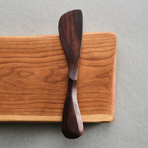 Billet + Blade Cherry Serving Board with Walnut Spreader
