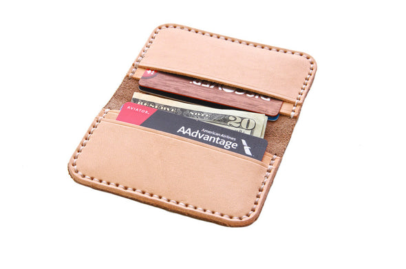 No. 215 - Card Wallet in Horween's Natural Brown