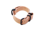 Three Ring Leather Watch Band w/ Black Steel & Natural Tan Leather