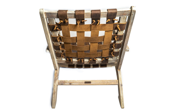 One-of-a-kind: Crazy Horse Leather-Woven Eucalyptus Lounge Chair