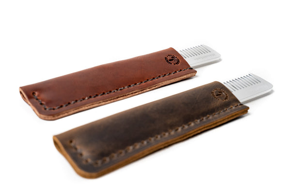 No. 1220 - Fendrihan Metal Double-Tooth Barber Comb with Leather Sheath