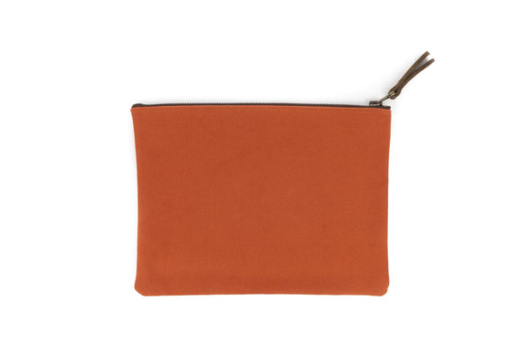Canvas Pouch in Orange - Large