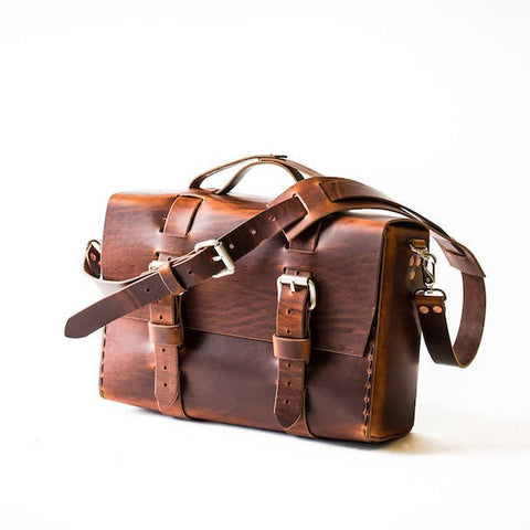 No. 4313 - Minimalist Extra Large Leather Satchel in Scotch Grunge