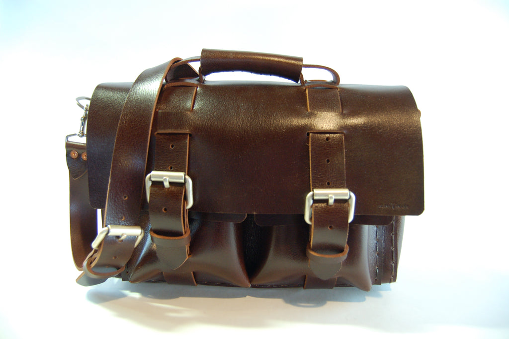 No. 4313 - CUSTOM Minimalist Standard Leather Satchel in Buffalo Relaxed Mahogany -SB1 - $760