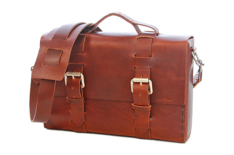 No. 4313 - Minimalist Standard Leather Satchel in Scotch Grunge