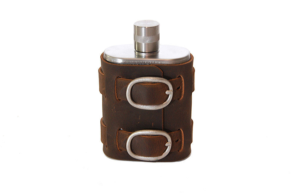 No. 516 - Brushed Stainless Steel Flask w/ Leather Wrap