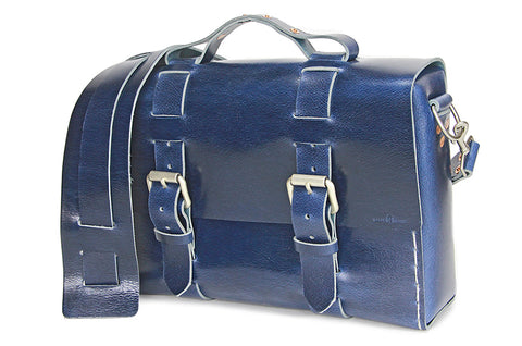 No. 4313 - Minimalist Standard Leather Satchel in Buffalo Blue