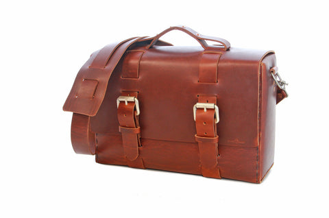 No. 4313 - Minimalist Large Leather Satchel in Scotch Grunge
