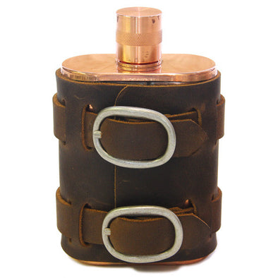 No. 516 - Copper Flask w/ Leather Wrap