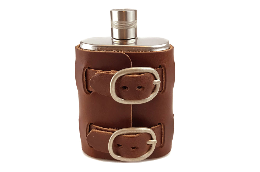 No. 516 - Brushed Stainless Steel Flask w/ Leather Wrap in Havana Brown