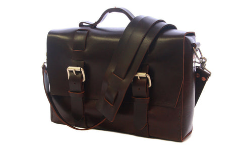 No. 4313 - Minimalist Large Leather Satchel in Buffalo Relaxed Mahogany
