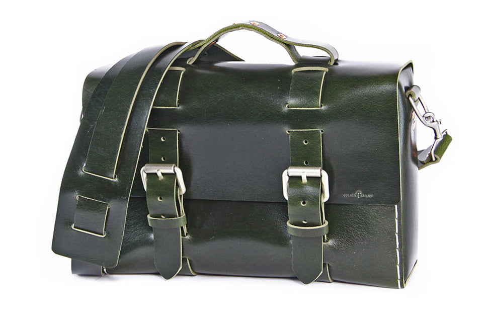 No. 4313 - Minimalist Standard Leather Satchel in British Green Buffalo