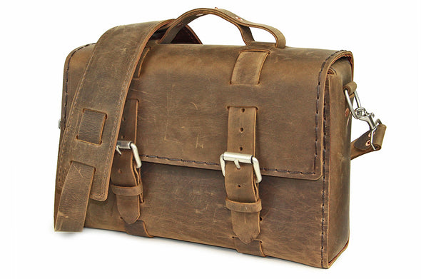 No. 4313 - Minimalist Standard Leather Satchel in Crazy Horse Lined with Amaretto Brown