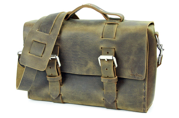 No. 4313 - Minimalist Standard Leather Satchel in Distressed Olive - ONLY 9 MADE, 6 LEFT!
