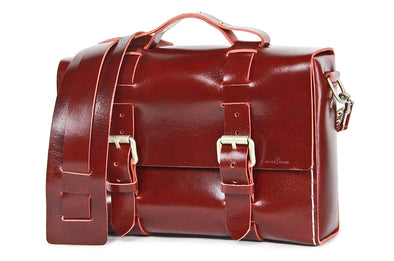 No. 4313 - Minimalist Standard Leather Satchel in Buffalo Red