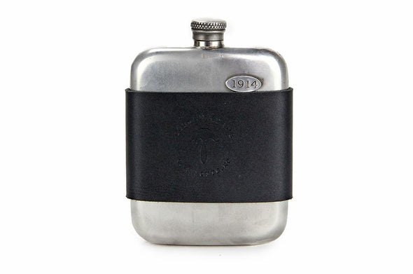 No. 618 - Vintage Pewter Hip Flask w/ Leather Wrap