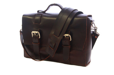 No. 4313 - Minimalist Standard Leather Satchel in Buffalo Relaxed Mahogany