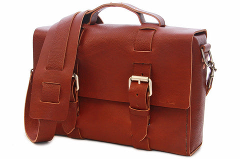 No. 4313 Minimalist Standard Satchel in Rich Pebbled Brown