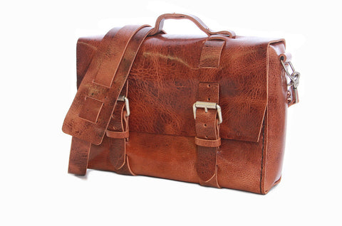 No. 4313 - Minimalist Large Glazed Tan Leather Satchel