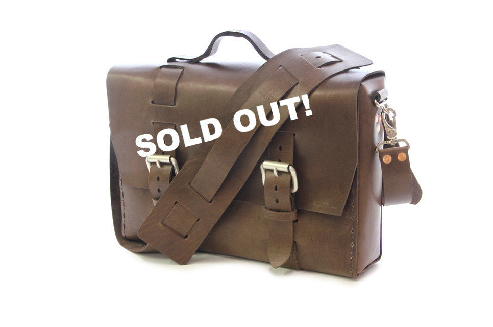 No. 4313 - Aged & Rugged Thick Brown Satchel - SOLD OUT!