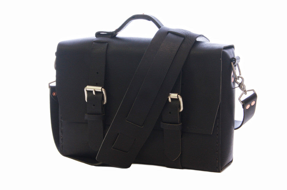 No. 4313 - Minimalist Standard Leather Satchel in Buffalo Black