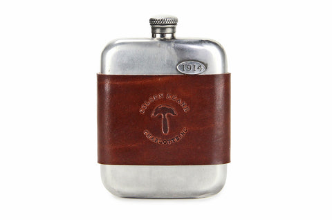 No. 618 - Vintage Pewter Hip Flask w/ Leather Wrap in Havana Brown