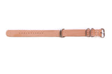 Three Ring Leather Watch Band w/ Stainless Steel & Natural Tan Leather