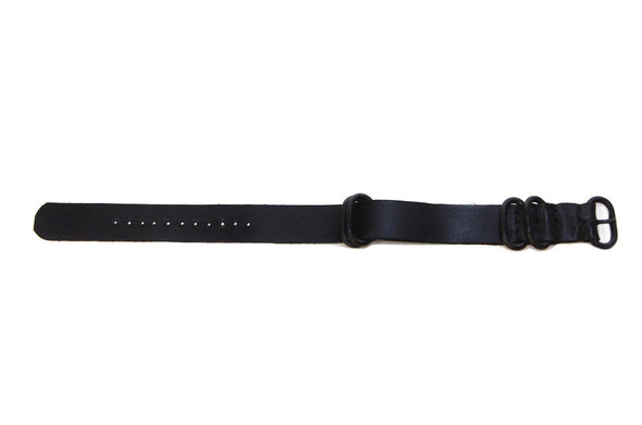 No. 515 Three Ring Leather Watch Band w/ Black Steel & Deep Black Leather