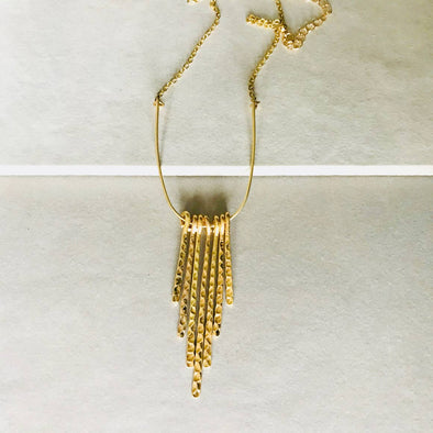 Hammered Gold Tassel Necklace
