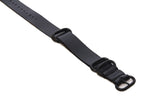 Three Ring Leather Watch Band w/ Black Steel & Deep Black Leather