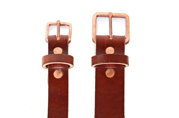 No. 819 - Skinny Copper Work Belt in Havana Brown