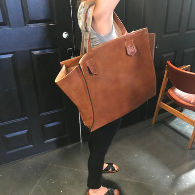 Custom Tote in Amber Brown Leather